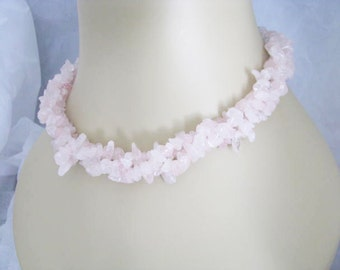 Sterling Silver Rose Quartz 3-row Chip Necklace