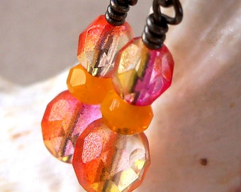 Orange, Yellow and Pink Earrings  - Retro Bead Series - Gunmetal or Silver Findings - Women's Earrings - Beaded Earrings - Summer Earrings