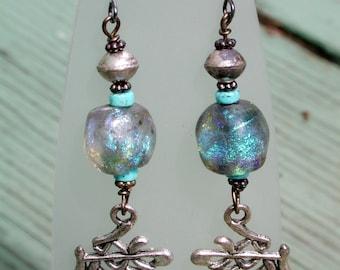 BASHA BEAD LAMPWORK Dangle Earrings with Turquise, SiLVeR and LoVE