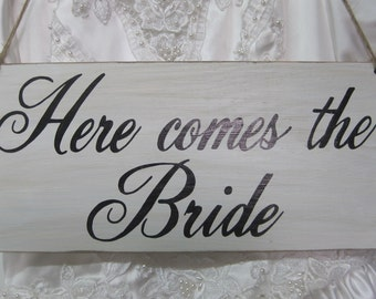 Here Comes the Bride Sign wedding Ring Bearer Flower girl Rustic wedding sign Photo Prop Ceremony Basket Alternative here comes the bride