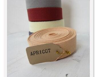 Apricot  Medium Weight Twill Tape, Cotton Twill Ribbon, 3/4 inch Chevron Tape