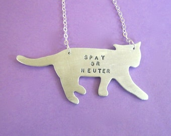 Spay or Neuter Cat Necklace-Vegan Necklace-VeganJewelry-Cat Rescue-Cat Lover-Rescue Cat-Pet Memorial-Gift-Birthday-Eco Friendly-Personalized