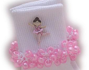 Kathy's Beaded Socks - Brunette Tiny Ballet socks, button socks, ballerina socks, ballet socks, pink pearl socks