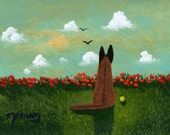 Belgian Malinois Dog Folk art print by Todd Young RED POPPY