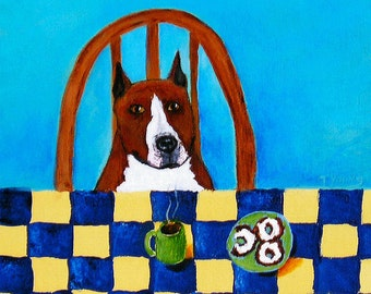 Pit Bull Terrier Dog Folk Art Print Todd Young painting MORNING COFFEE