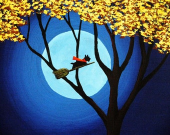 Scottie Dog Folk Art PRINT of Todd Young painting HALLOWEEN NIGHT
