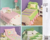 "McCall's 6718 18"" American Girl Doll Bed Mattress Bedding Lamp Nightstand Table Sewing Pattern New and Uncut"