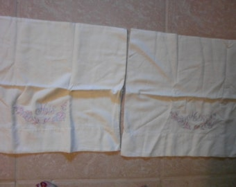 Vintage His Hers Pillowcases.  white cotton standard size,pink,blue embroidery