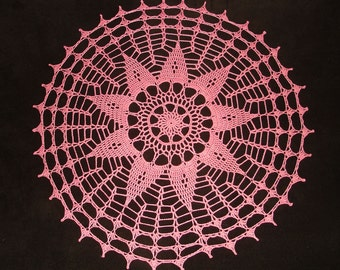 "New Handmade Crocheted ""Nova"" Doily in Coral - 16"""