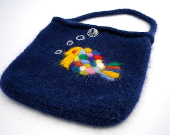 Small Navy Purse with Needle Felted Fish **FREE SHIPPING (US only)**