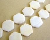 White Shell Beads 17mm Hexagon Shape, Full Strand