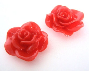 Red Opaque Rose 30mm Flower Cabochon 3pcs