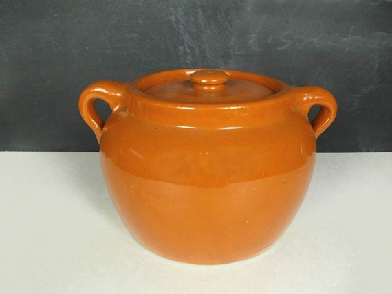 Medalta Pottery Stoneware Crock With Lid Red Clay Bean Pot