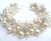 Bridal Jewelry, Wedding, Pearl Bridesmaid Bracelet, Pearl and Rhinestone Bracelet, Cluster Bracelet, Pearl Bracelet, Ivory Pearl Jewelry