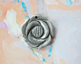 Rose Pendant Metal Flower Focal Piece