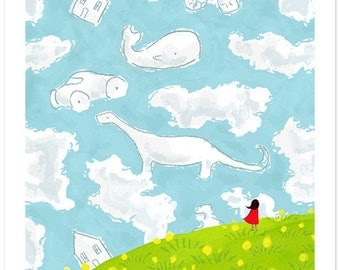 Children's Wall Art Print - Cloud Gazing - Kids Nursery Room Decor