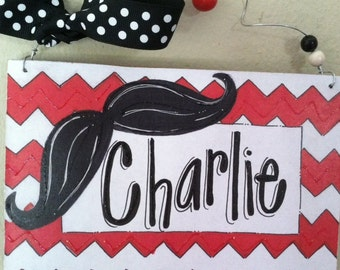 Hand personalized moustache and chevron sign super cute for teacher or kids room
