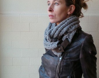 Gray Haze double wrap cowl  circular scarf  loose knit