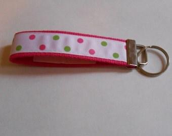 Handmade Pink Dippy Dots Key FOB