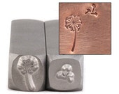 Dandelion and FLUFF stamp set - hand stamp for metal jewelry