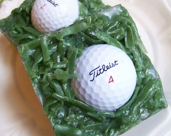 Golf Soap Bar - Golf Ball Soap, Gift For Him, Stocking Stuffer, Grass Soap, Titleist Golf Ball, Novelty Soap, Gift For Dad, Boyfriend Gift