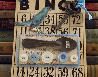 Blue Bird Mixed Media Collage Art - Altered Bingo Card Wall Hanging - Shabby Wall Hanging - Blue Bird Collage - 3d Assemblage Art