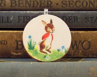 Wooden Rabbit Pendant with Vintage Illustration - Round Wooden Pendant - Peter Rabbit Charm - Spring Bunny Pendant - Bunny Rabbit Jewelry