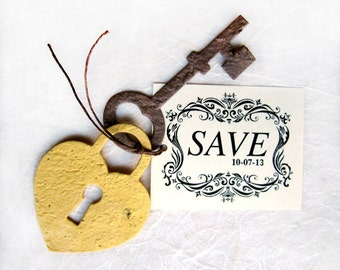 50+ Plantable Save the Date Cards - Flower Seed Lock and Key Save the Date cards - Wedding Favor Cards