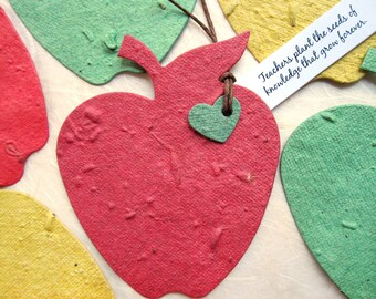 30 Plantable Paper Apples - Teacher Thank You Gift Seed Apples - Appreciation for teachers