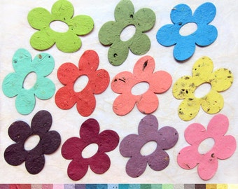 20 Five Petal Seed Paper Flowers - Pink Blossom Plantable Paper - Red Poppy - Purple Lilac Aqua Lime and more - Optional Custom Printed Card