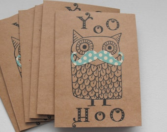 Owl Mustache Greeting Card Set  of Six YOO HOO Hello  Birthday Celebration Any occasion Polka Dots