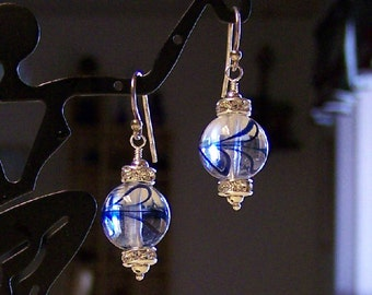Blue Hearts on Glass Beaded Earrings with Sterling Ear Wires Version 2