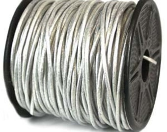 Genuine India LEATHER Cord 2mm METALLIC PEARL Silver 25 Yard Spool 420451-sp
