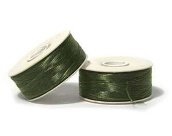 2 Bobbins Nymo B Beading Thread 72 Yards OLIVE 42937