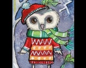 ACEO Owl Winter thunderstorm Print 7 card draw