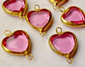 Vintage Swarovski 12mm Rose Pink Heart Charms (22-14F-6)