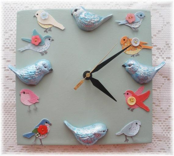 Bird Home Decor Ceramic Clock Blue Birds Vintage Design Birds