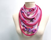 Loop Scarf - Infinity Necklace - Knit Neckwarmer, Scarflette - Pink Lilac Fuchsia Violet - Handmade - LOOPY LOOP