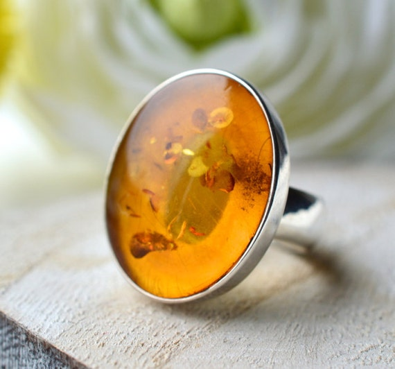 ON SALE 40% OFF - Natural Baltic Amber Ring in High Polished Sterling Silver , Handmade, Modern,Classic, Cocktail Ring, Summer