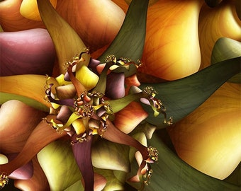 Abstract Floral Fractal Art Print - Oracle - Orange and Green Colorful Spiral