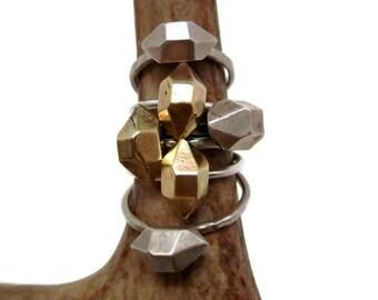 Herkimer diamond ring in bronze & silver