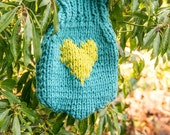Knitted hotwater bottle cover  warmth  tummy health  HOTTIE COVER in teal and chartreuse vegan suitable
