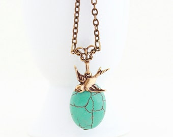 Turquoise Necklace - Turquoise and Brass - Turquoise Pendant With Brass Bird Charm - Choose Your Length - Girlfriend Gift - Gift For Woman