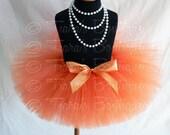 """Girls Tutu Skirt - Orange Tutu - Birthday Tutu - Outrageous Orange - Custom Sewn 8"""" Tutu - sizes Newborn to 5T"""