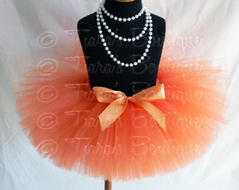 "Girls Tutu Skirt - Orange Tutu - Birthday Tutu - Outrageous Orange - Custom Sewn 8"" Tutu - sizes Newborn to 5T"