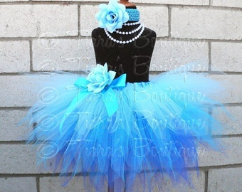 Blue Tutu, Girls Tutu, Sewn Pixie Tutu and Headband Set, Whispering Waterfall, Custom 3 Tiered Pixie Tutu, Mermaid Tutu, Frozen Photo Prop