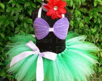 "Little Mermaid Tutu, Girls Mermaid Tutu Set, 11"" Girls Pixie Tutu Ariel Costume, sizes 6, 7, 8 - tutu, sea shell seashell bra top, headband"