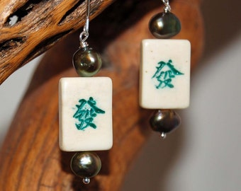 Mah Jong Tile Earrings Green Dragon Artisan-Made