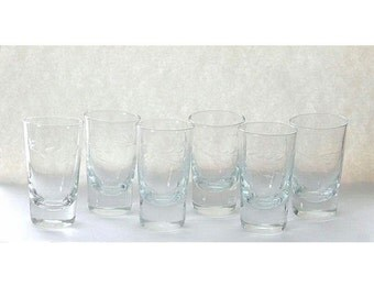 Vintage Mid Century Etched Glasses x6 Aperitif Cordial Sipping
