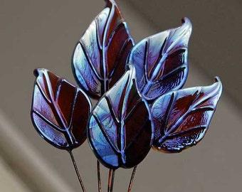 6 Ekho Leaves Head Pins Set, Glass Headpins, Handmade metallic berry brown silvery lampwork glass headpins by Beadfairy Lampwork